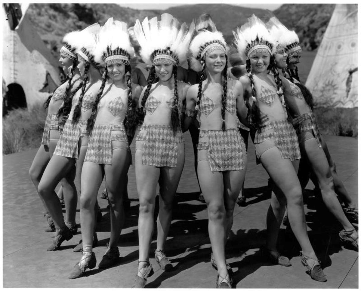 A bevy of Indian babes from the 1934 Vitaphone Technicolor short, WHAT, NO MEN?