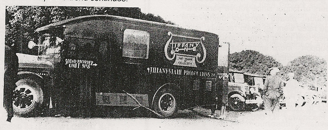 A Tiffany Studios sound truck in use in Hollywood, circa 1930